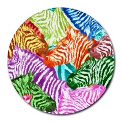 Zebra Colorful Abstract Collage Round Mousepads