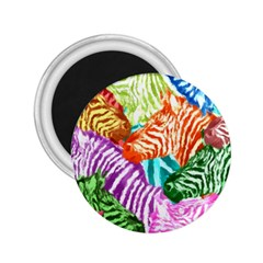 Zebra Colorful Abstract Collage 2 25  Magnets