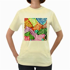 Zebra Colorful Abstract Collage Women s Yellow T Shirt