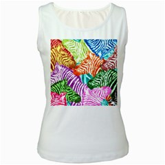 Zebra Colorful Abstract Collage Women s White Tank Top