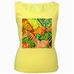 Zebra Colorful Abstract Collage Women s Yellow Tank Top