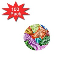 Zebra Colorful Abstract Collage 1  Mini Buttons (100 pack)