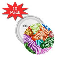 Zebra Colorful Abstract Collage 1 75  Buttons (10 Pack)