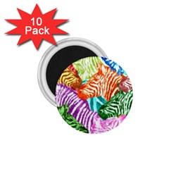 Zebra Colorful Abstract Collage 1 75  Magnets (10 Pack)