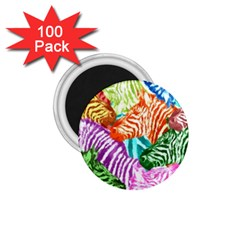 Zebra Colorful Abstract Collage 1 75  Magnets (100 Pack)