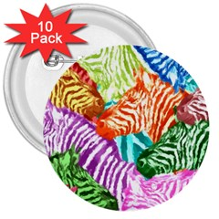 Zebra Colorful Abstract Collage 3  Buttons (10 Pack)