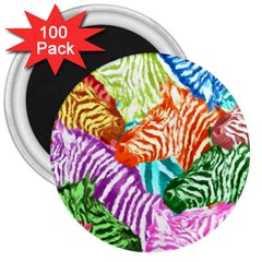 Zebra Colorful Abstract Collage 3  Magnets (100 pack)