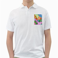 Zebra Colorful Abstract Collage Golf Shirts
