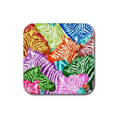 Zebra Colorful Abstract Collage Rubber Square Coaster (4 pack)