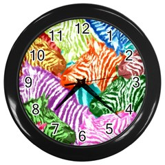 Zebra Colorful Abstract Collage Wall Clocks (black)