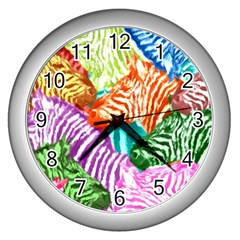 Zebra Colorful Abstract Collage Wall Clocks (Silver)