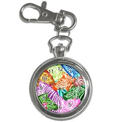 Zebra Colorful Abstract Collage Key Chain Watches