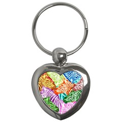 Zebra Colorful Abstract Collage Key Chains (heart)