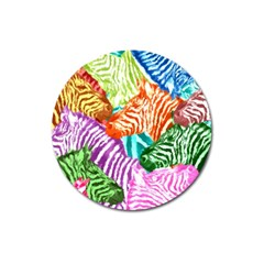 Zebra Colorful Abstract Collage Magnet 3  (round)