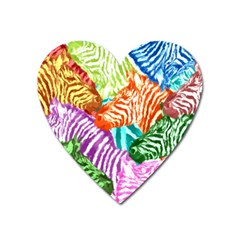 Zebra Colorful Abstract Collage Heart Magnet