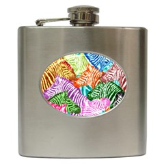 Zebra Colorful Abstract Collage Hip Flask (6 Oz)