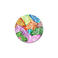 Zebra Colorful Abstract Collage Golf Ball Marker (4 Pack)