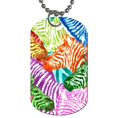 Zebra Colorful Abstract Collage Dog Tag (two Sides)