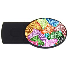 Zebra Colorful Abstract Collage USB Flash Drive Oval (1 GB)