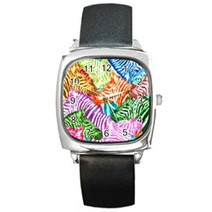 Zebra Colorful Abstract Collage Square Metal Watch