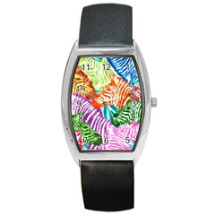 Zebra Colorful Abstract Collage Barrel Style Metal Watch