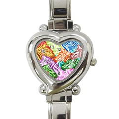Zebra Colorful Abstract Collage Heart Italian Charm Watch