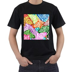 Zebra Colorful Abstract Collage Men s T Shirt (black) (two Sided)