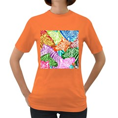 Zebra Colorful Abstract Collage Women s Dark T Shirt