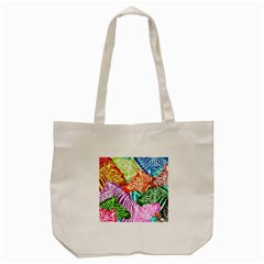Zebra Colorful Abstract Collage Tote Bag (cream)