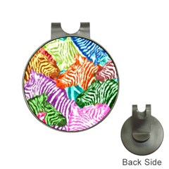 Zebra Colorful Abstract Collage Hat Clips With Golf Markers