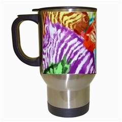 Zebra Colorful Abstract Collage Travel Mugs (white)
