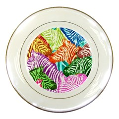 Zebra Colorful Abstract Collage Porcelain Plates