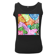 Zebra Colorful Abstract Collage Women s Black Tank Top