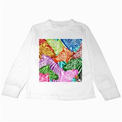 Zebra Colorful Abstract Collage Kids Long Sleeve T Shirts
