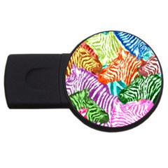 Zebra Colorful Abstract Collage Usb Flash Drive Round (4 Gb)