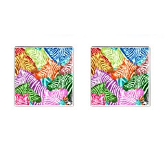 Zebra Colorful Abstract Collage Cufflinks (square)