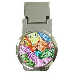 Zebra Colorful Abstract Collage Money Clip Watches