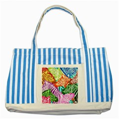 Zebra Colorful Abstract Collage Striped Blue Tote Bag
