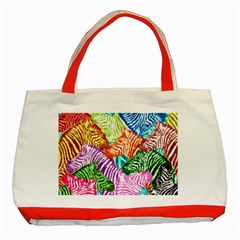 Zebra Colorful Abstract Collage Classic Tote Bag (red)
