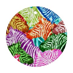 Zebra Colorful Abstract Collage Round Ornament (two Sides)
