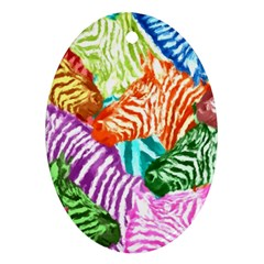 Zebra Colorful Abstract Collage Oval Ornament (two Sides)