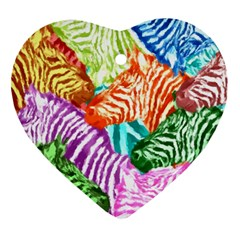 Zebra Colorful Abstract Collage Heart Ornament (2 Sides)