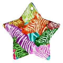 Zebra Colorful Abstract Collage Star Ornament (Two Sides)