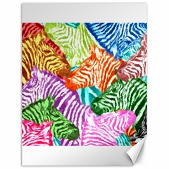 Zebra Colorful Abstract Collage Canvas 12  X 16