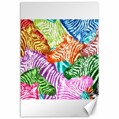 Zebra Colorful Abstract Collage Canvas 12  X 18