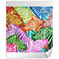 Zebra Colorful Abstract Collage Canvas 16  X 20