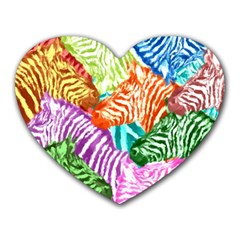 Zebra Colorful Abstract Collage Heart Mousepads