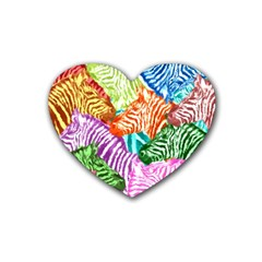 Zebra Colorful Abstract Collage Heart Coaster (4 Pack)