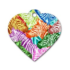 Zebra Colorful Abstract Collage Dog Tag Heart (one Side)
