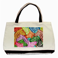 Zebra Colorful Abstract Collage Basic Tote Bag (two Sides)